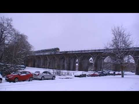 London Midland City Train Crossing Worcester River Severn Railway Bridge & Viaduct 6th January 2010