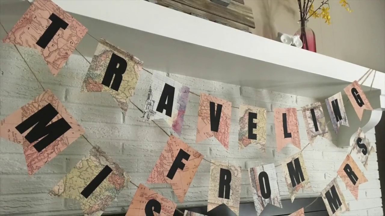 Excellent DIY Travel Theme Bridal Shower Banner Tutorial | Traveling From  DF87