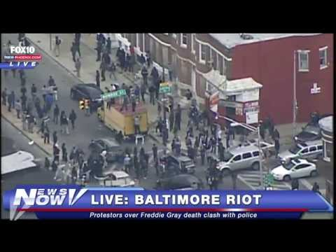 Aerial coverage of Baltimore Riots following Freddie Gray funeral