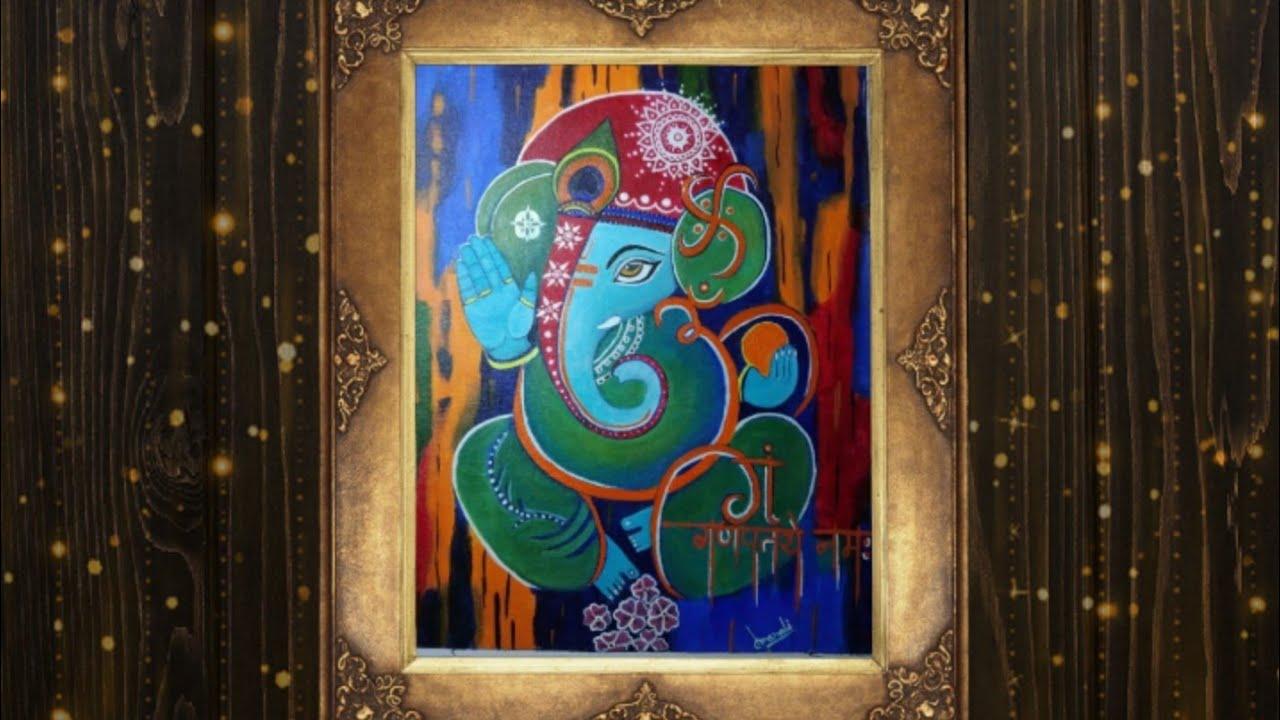 Easy Ganesha acrylic painting tutorial,beginners acrylic ...
