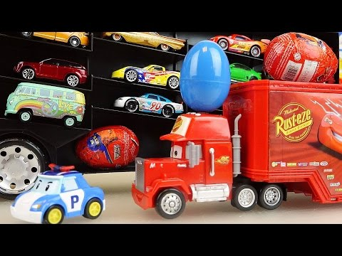 Thumbnail: Cars Carrier and truck surprise eggs and Robocar Poli car toys