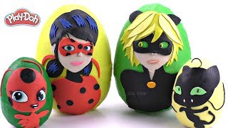 Huge Play Doh Surprise Eggs Ladybug and Cat Noir | Learn Colors with Miraculous and Play Doh