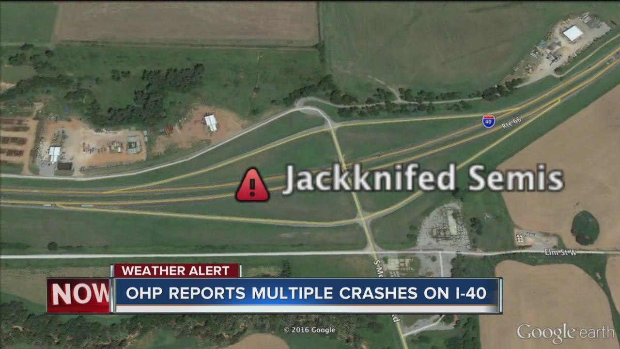 I 40 Oklahoma Map.Ohp Several Crashes Slow Traffic On I 40 West Of Oklahoma City