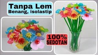 BUNGA dari SEDOTAN TANPA LEM, BENANG, ISOLATIP