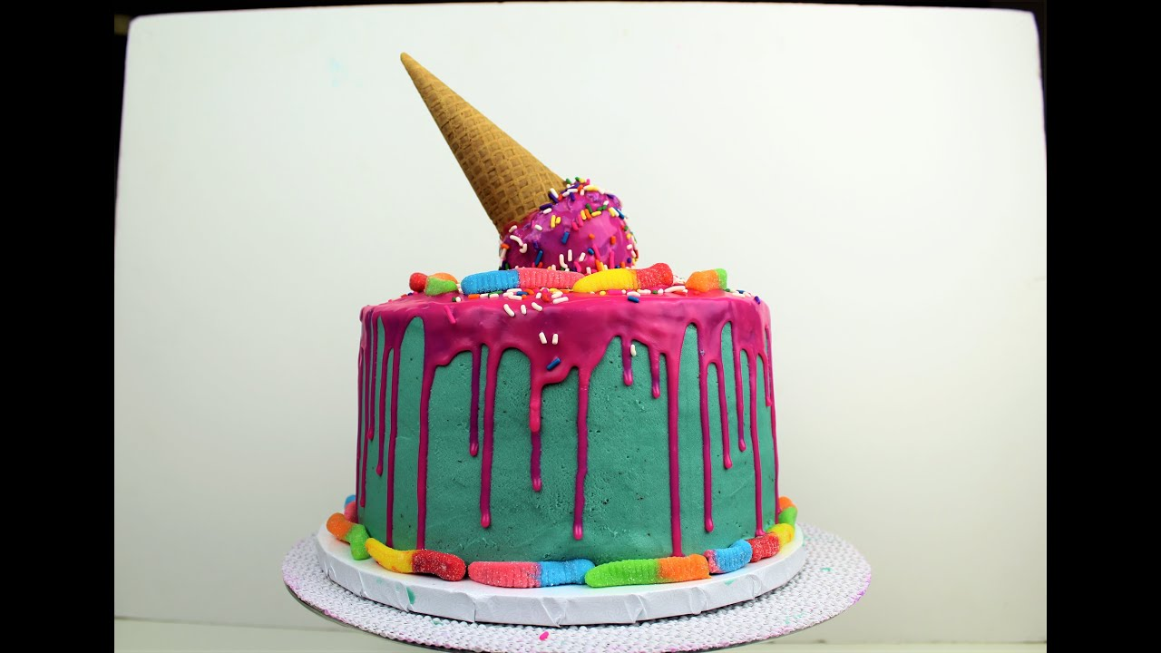 Cake Ice Cream On Top : Easy Pink Drip Cake with Melting Ice Cream Cone I ...