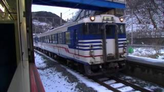 羽越本線829D 小岩川停車 対向列車と交換 2017年2月24日