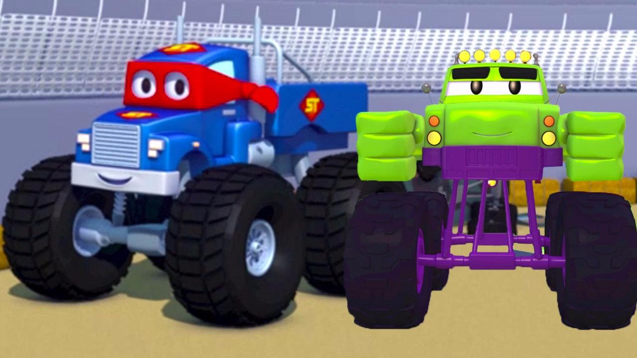 Super Truck Et Le Monster Truck à Car City Dessin Animé Pour