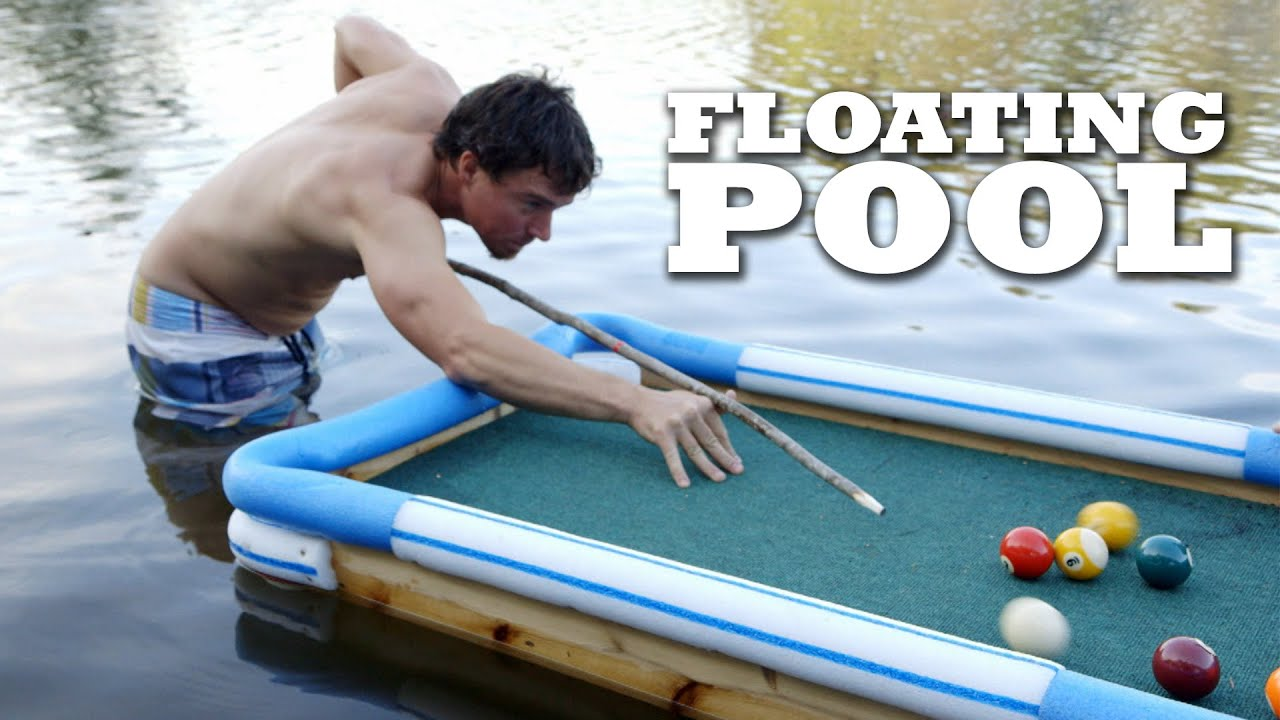 Swim up bar floating pool table youtube for Swimming pool poker