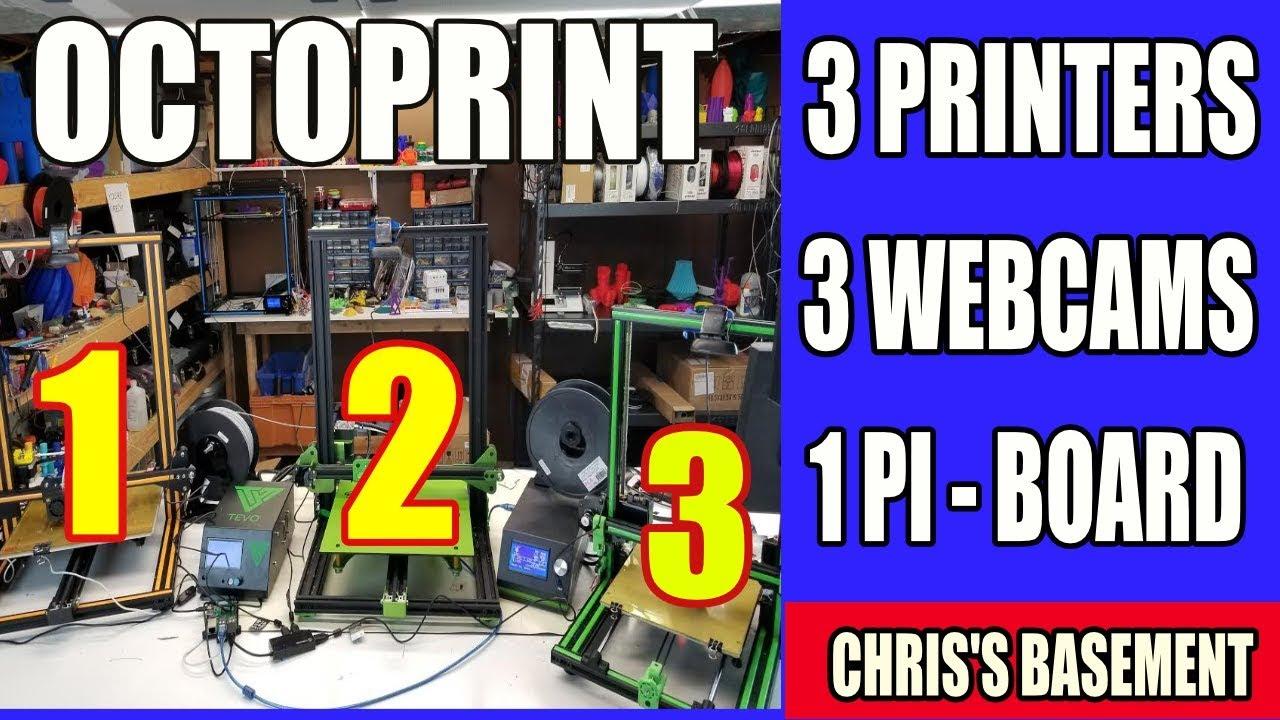 Octoprint 3 Printers, 3 Cams, 1 Raspberry Pi - Chris's Basement - Happy Pi Day!