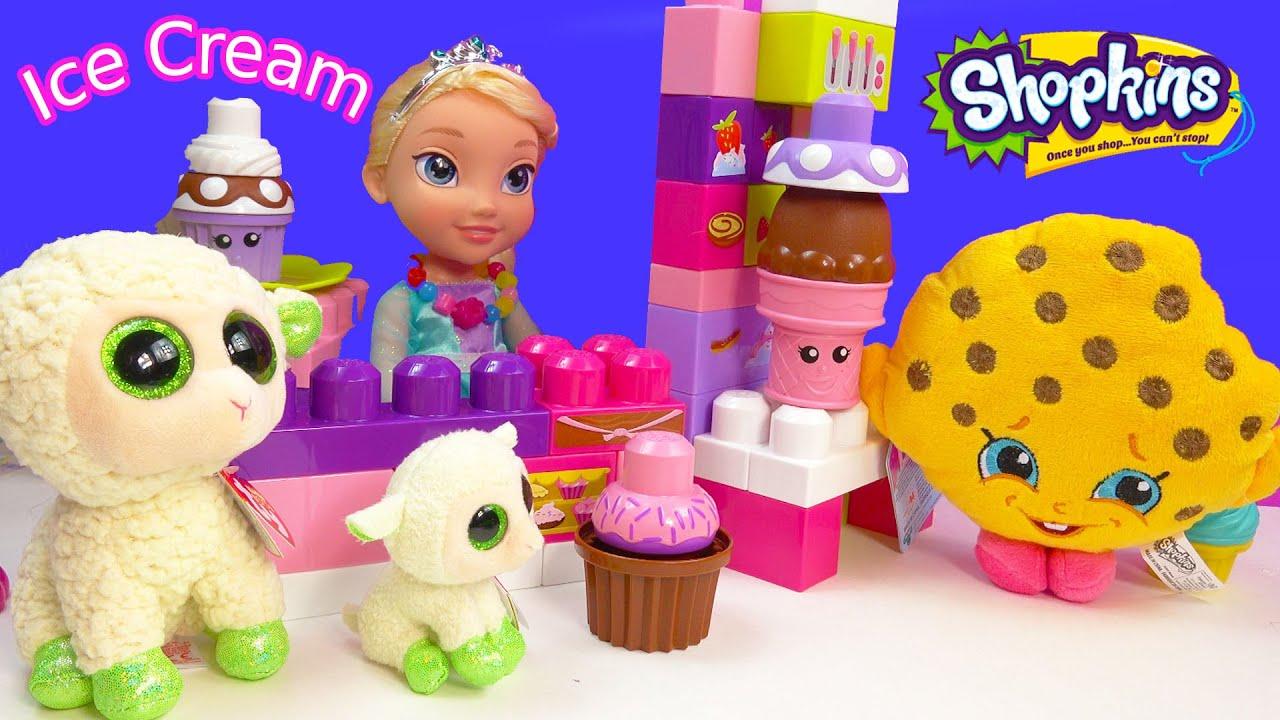 Queen Elsa Disney Frozen Ice Cream Cupcakes 2 Shopkins Plushies