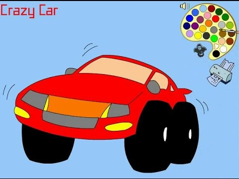 coloring for kids cars crazy car baby car and mini cportcar