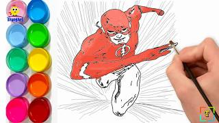 How to draw THE FLASH running easy |THE FLASH Coloring Pages for Kids | How to draw comic characters