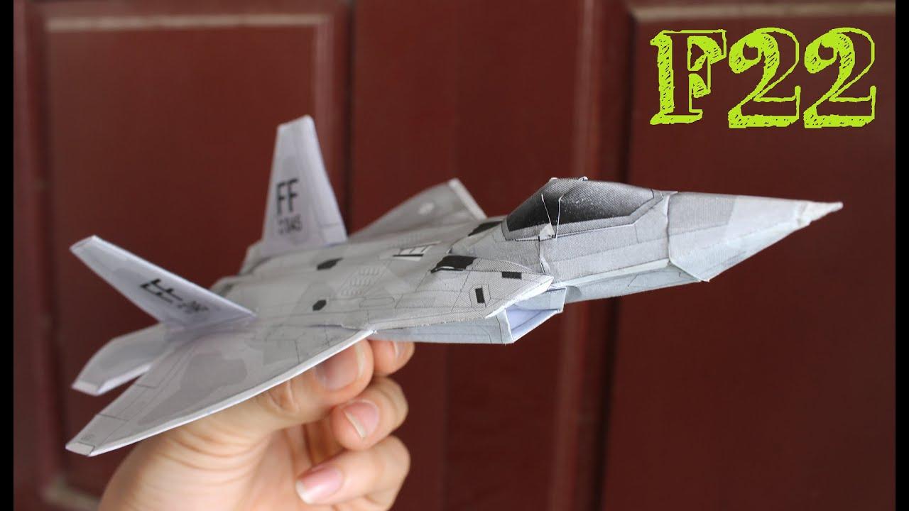 Conhecido Como fazer um avião F 22 Raptor   Avião de papel 3D - YouTube EK28