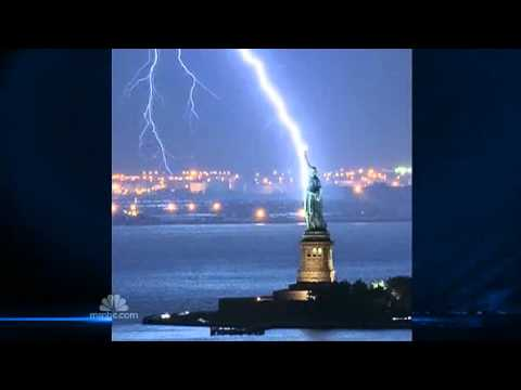One-in-a-Million Shot Catches Lady Liberty Lightning Strike