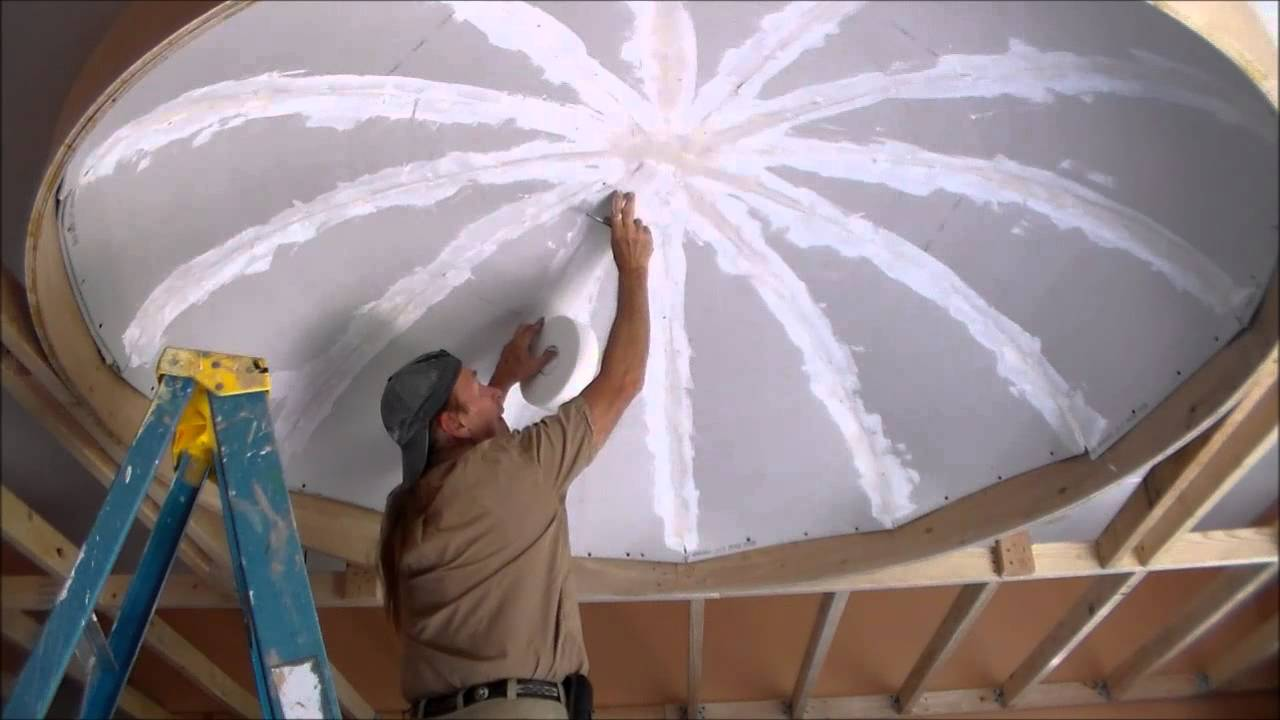 Dome Ceiling Drywall Finishing Part 6 Youtube