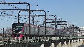 臨時列車「冬の高尾山ハイキング号」 京王5000系5733F 多摩川橋梁通過 12/24