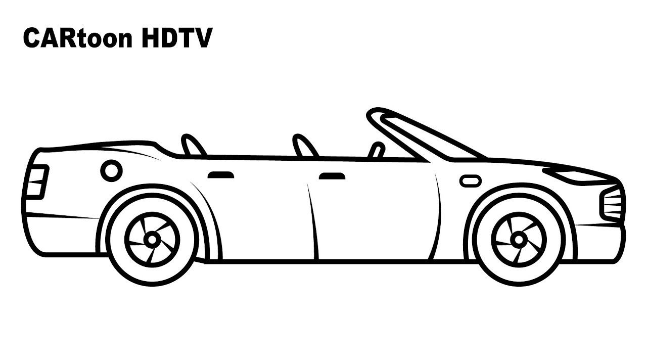 Convertible car coloring pages, colors for kids with