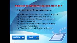 Steps to fix windows runtime error 217