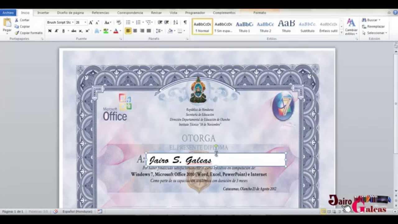 crear diplomas en word usando una lista de excel