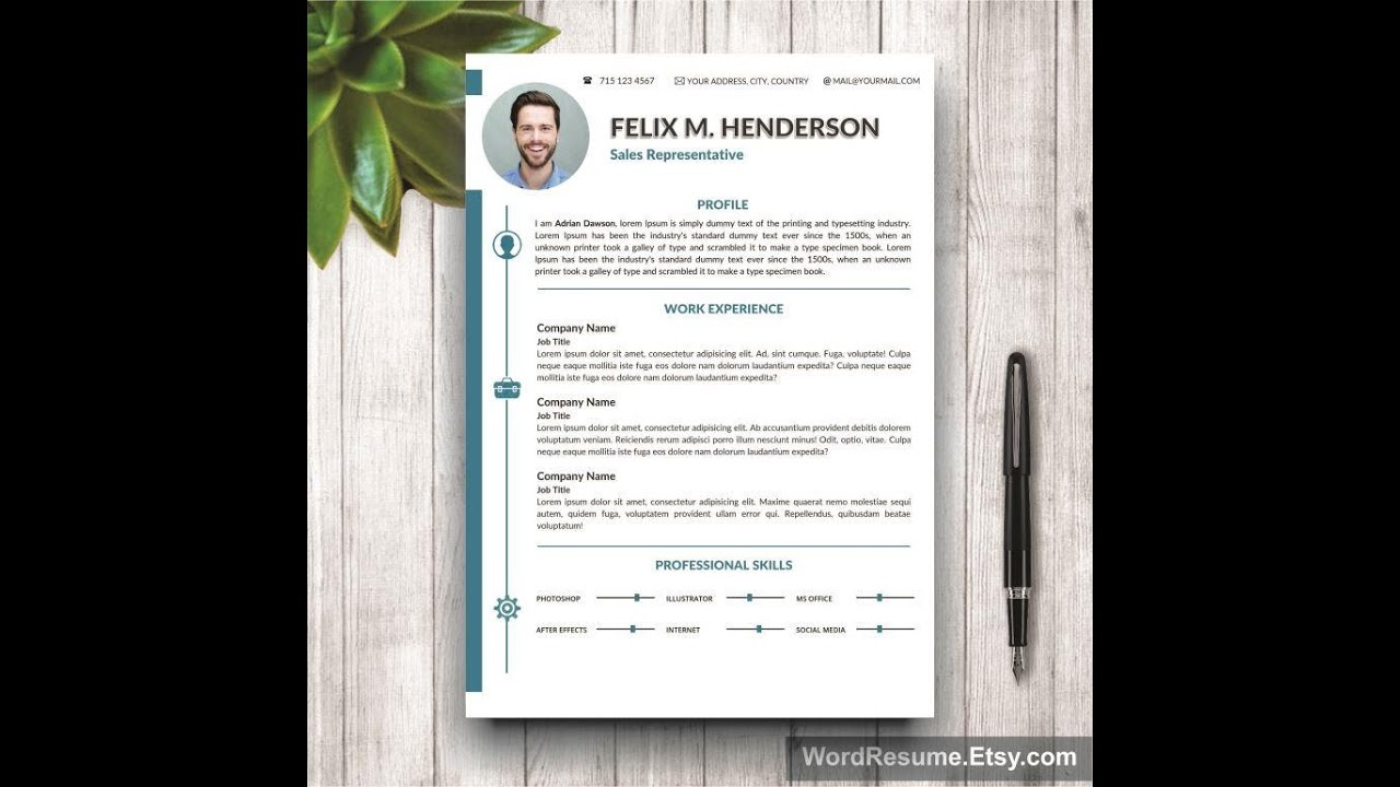 Resume Template  Cover Letter  Portfolio For Ms Word  Youtube