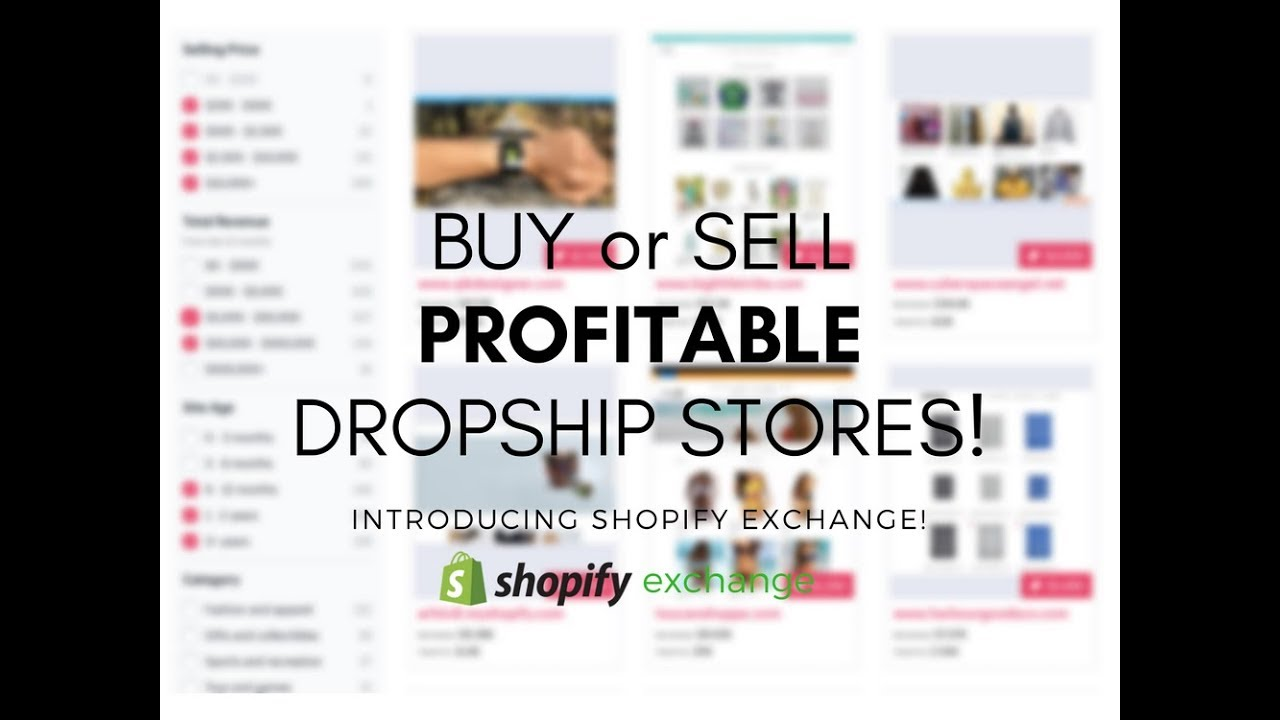 Buy or Sell a Dropshipping Store with Shopify Exchange Marketplace