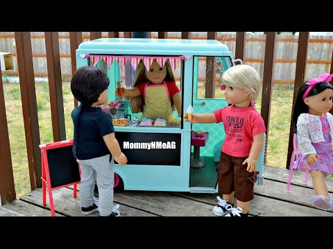 AMERICAN GIRL DOLL ICE CREAM TRUCK!! Opening and review for Our Generation Ice cream Truck