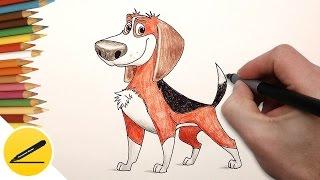 Как Нарисовать Собаку Оззи (Большой собачий побег) | Рисуем Бигля Оззи поэтапно