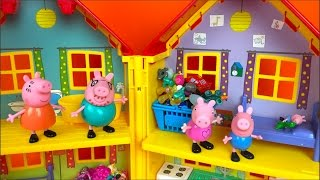 PEPPA PIG STORY IN PEPPA PIG'S HOUSE WITH  GEORGE MOMMY PIG PAPA PIG & TOYS- MCQUEEN SHOPKINS MLP thumbnail