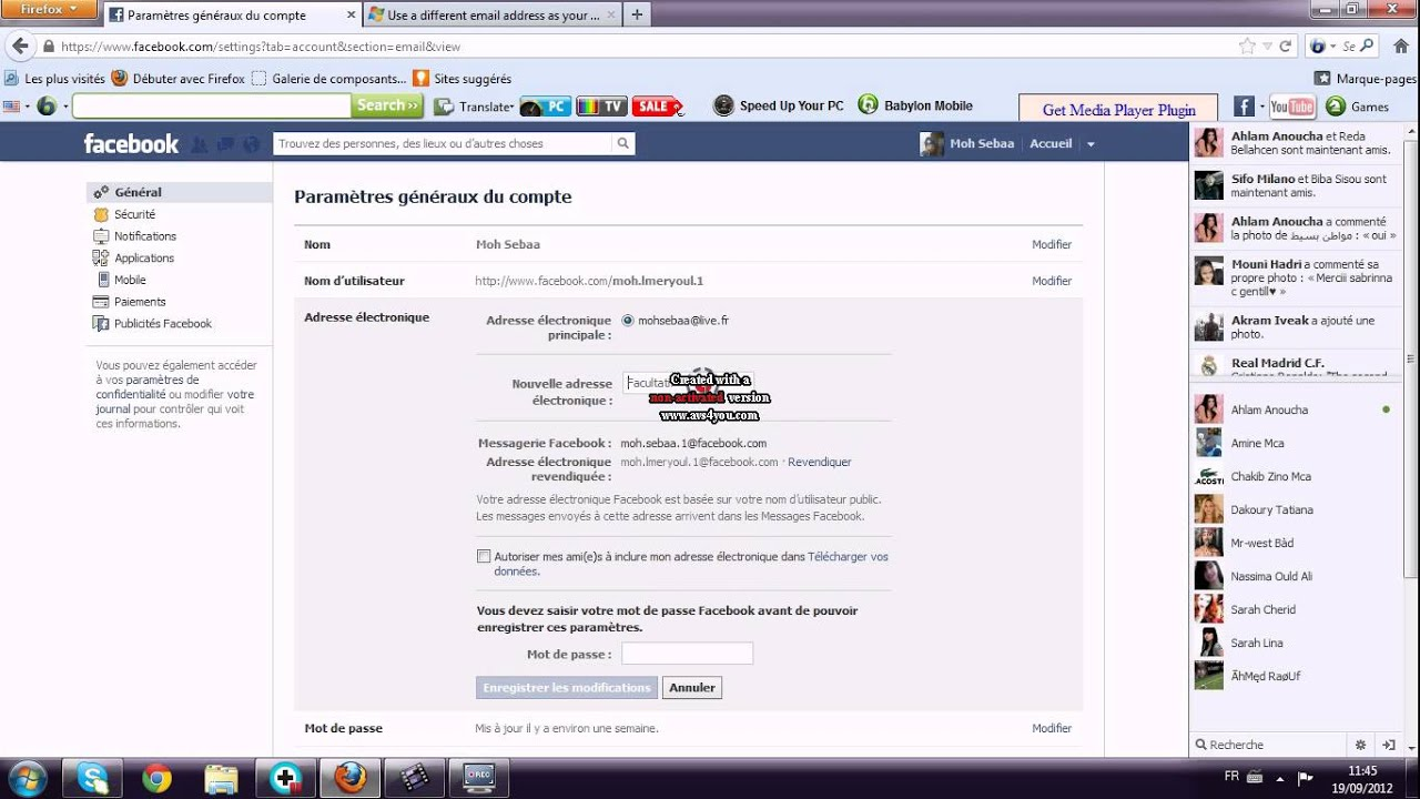 tuto comment changer son adresse e mail de son compte facebook 2012 youtube. Black Bedroom Furniture Sets. Home Design Ideas