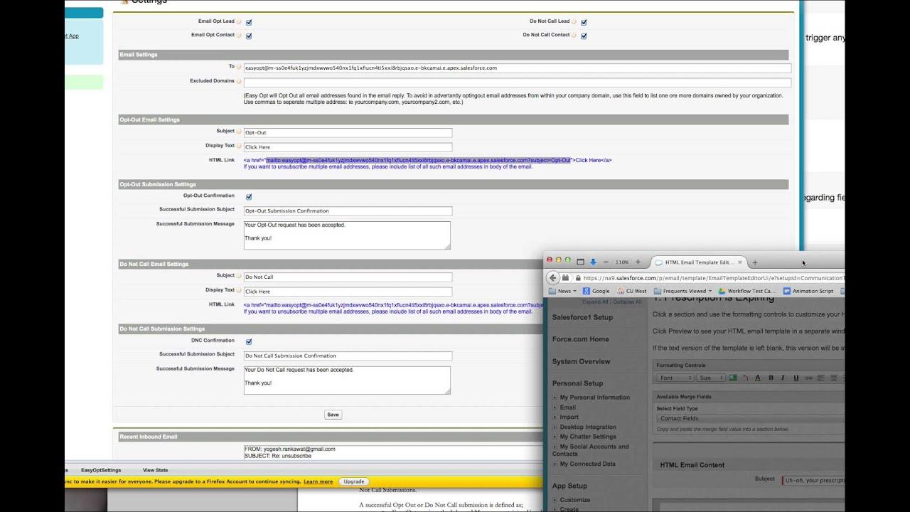 Easy Opt Unsubscribe Demonstration Setup For Salesforce Html