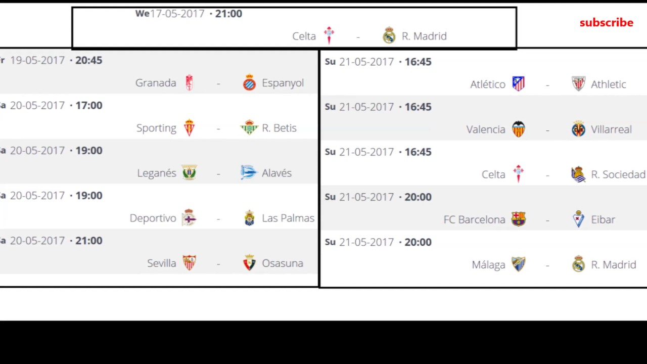 Spanish league 37 matchday la liga table and results fixtures youtube - Point table of spanish la liga ...