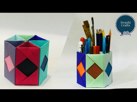 How to Make Pen Stand || Origami Pen Holder || Paper Pencil Holder||Hexagonal Pen Holder