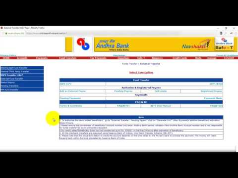 Step1 Transfer money from Andhra Bank to SBH Adding Payee