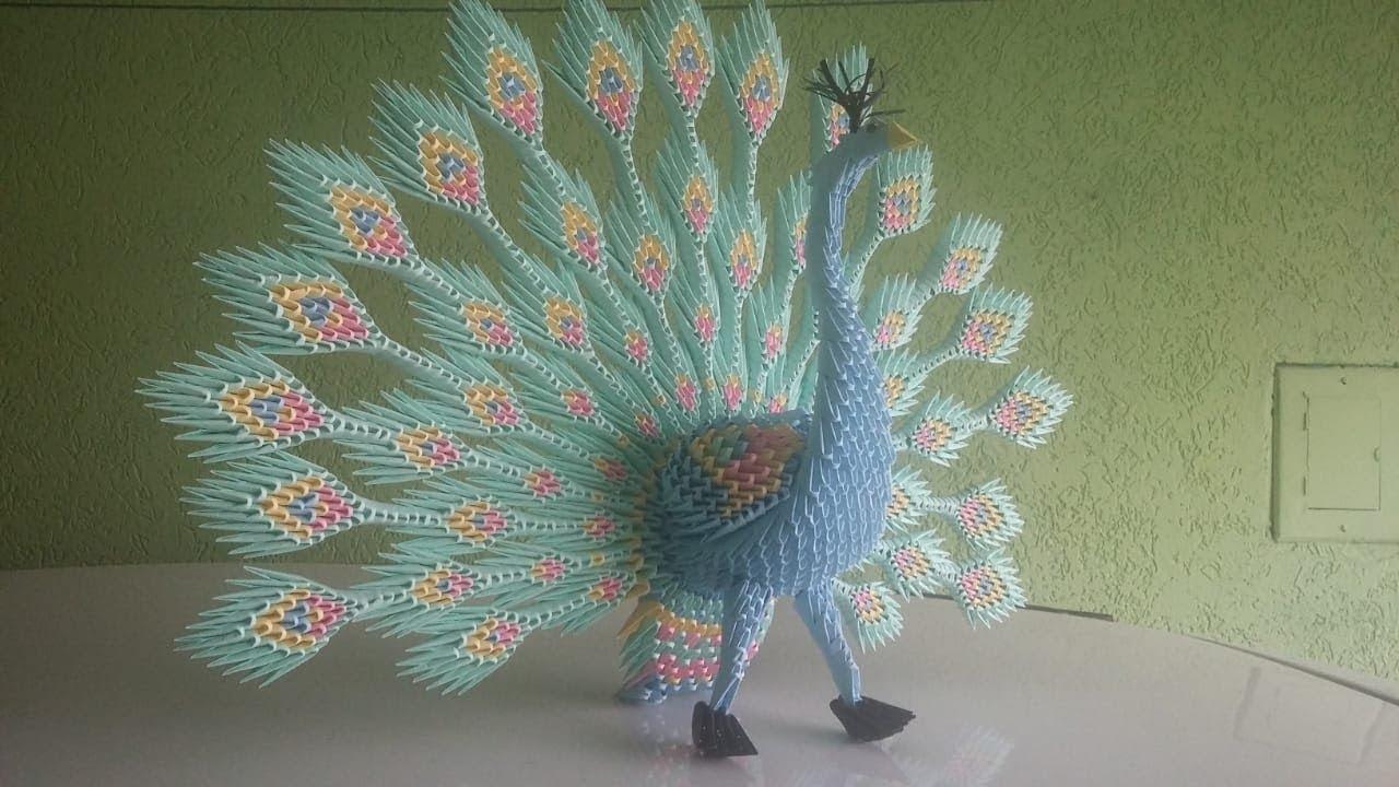 3D Origami Diamond Pattern Peacock Tutorial | Origami modulaire ... | 720x1280