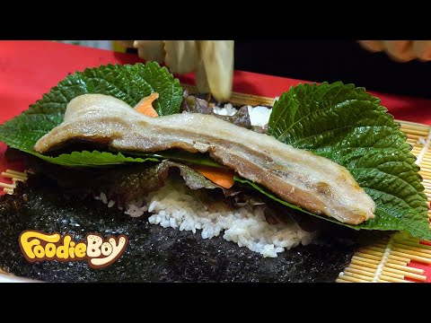 Pork Belly Kimbob / Korean Street Food / Kkangtong Night Market, Busan Korea