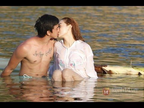 Minh Hằng cực gợi cảm, say sưa hôn trai trẻ giữa hồ nước