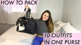 How to Purse Pack | 10 Outfits in One Purse (TRAVEL HACKS + TIPS)