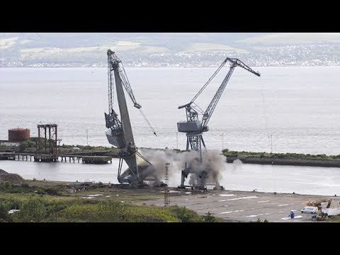 Inchgreen Dock cranes demolished by a controlled explosion