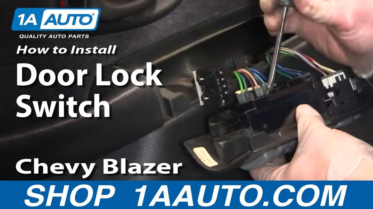 how to replace power window door lock switch 95 05 chevy blazer s10 [ 1280 x 720 Pixel ]