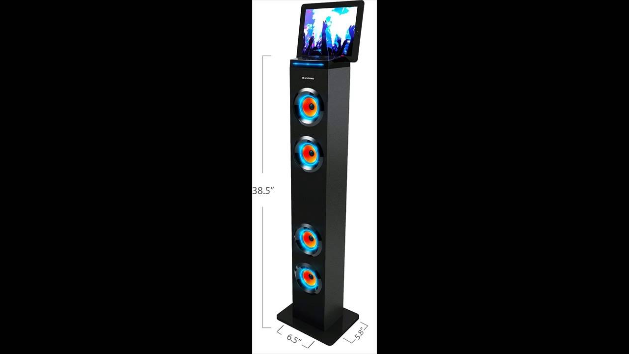 Arsound Ar1004bk Bluetooth Led Lights Tall Tower Stereo Speaker