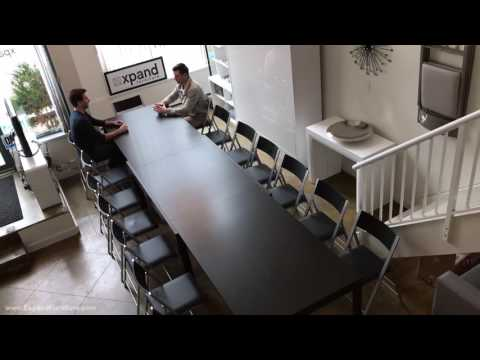 Demo of the Juggernaut extending table seating 22 people