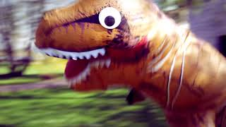 Did you see a dinosaur today? | Inflatable T-rex costume music video for kids | Daddy Donut