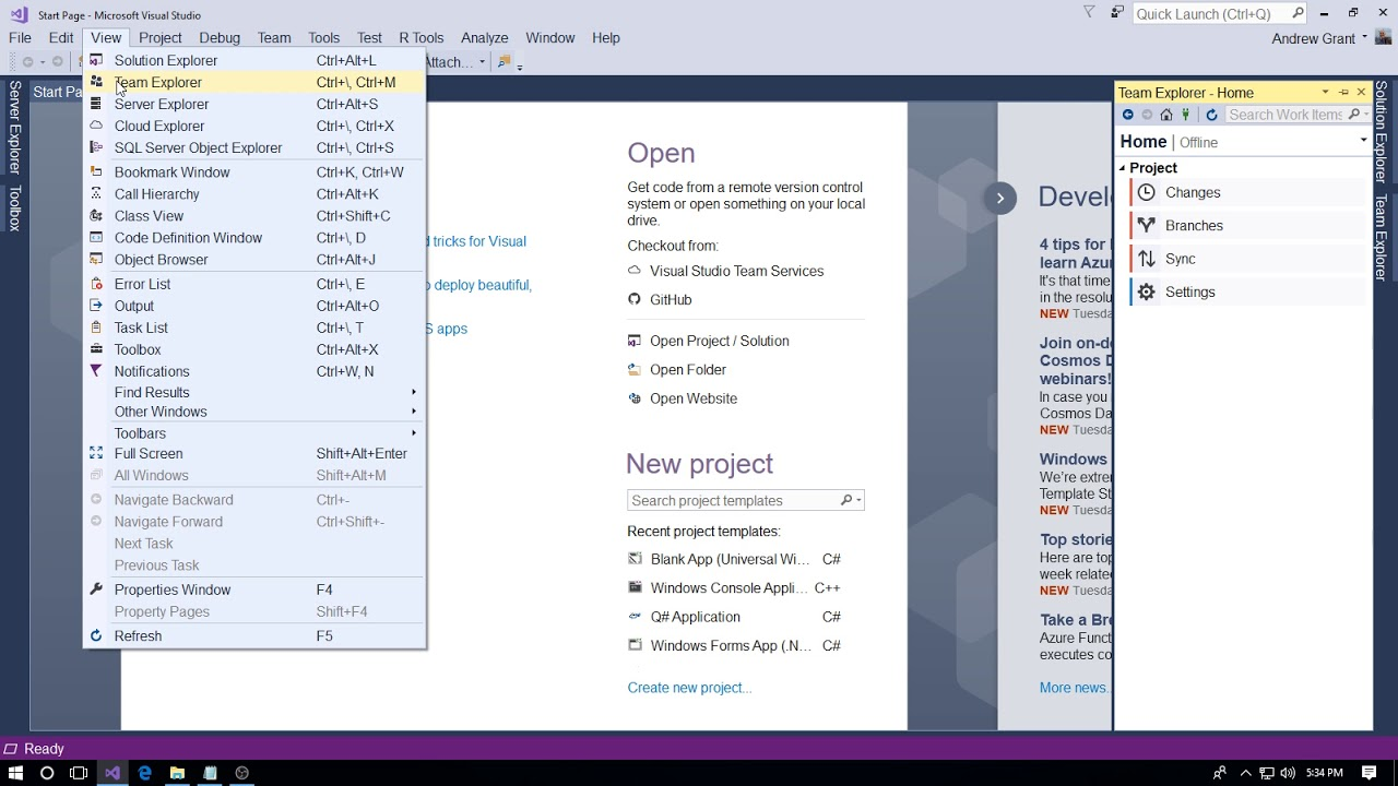 Change the default Project and Github Repository Location in Visual Studio  2017