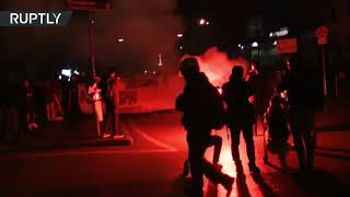 Italian anti-fascist activists clash with police in Italy