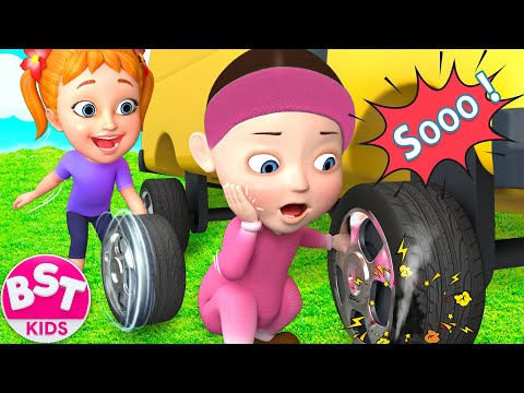 Ten Little Buses | 3D Wheels On The Bus | Kids Animation Rhymes