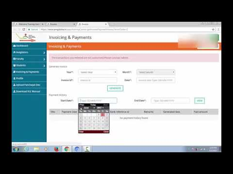 How to Generate Invoice and Payment in PMGDISHA 2017 - YouTube