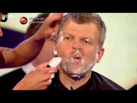 Adrian Chiles Shaves off his Beard - Sport Relief 2010 - BBC One