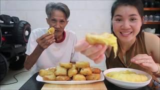 Vlog 42 ll Đem 3 trái sầu riêng làm bánh SẦU RIÊNG CHIÊN GIÒN,