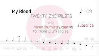 Twenty One Pilots - My Blood[S2] Drum Score Video