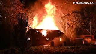 Grote brand woonboerderij in Groningse Scheemda